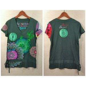 Desigual Floral Embroidered Shirt Womens Large